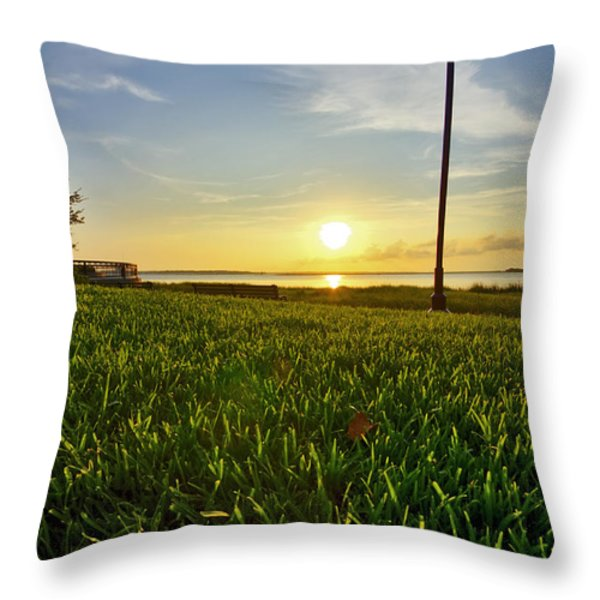 Charleston Waterfront Park Sunrise 3 Throw Pillow by Dustin K Ryan