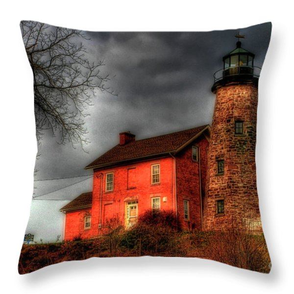 Charlotte-genesee Lighthouse  Throw Pillow by Joel Witmeyer