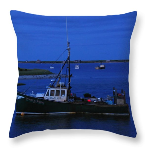 Chatham Pier Fisherman Boat  Throw Pillow by Juergen Roth