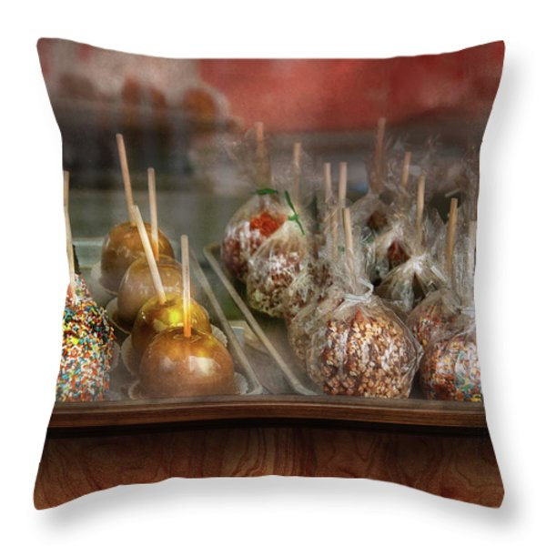 Chef - Caramel Apples For Sale Throw Pillow by Mike Savad