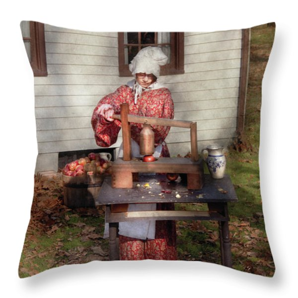 Chef - Coring Apples Throw Pillow by Mike Savad