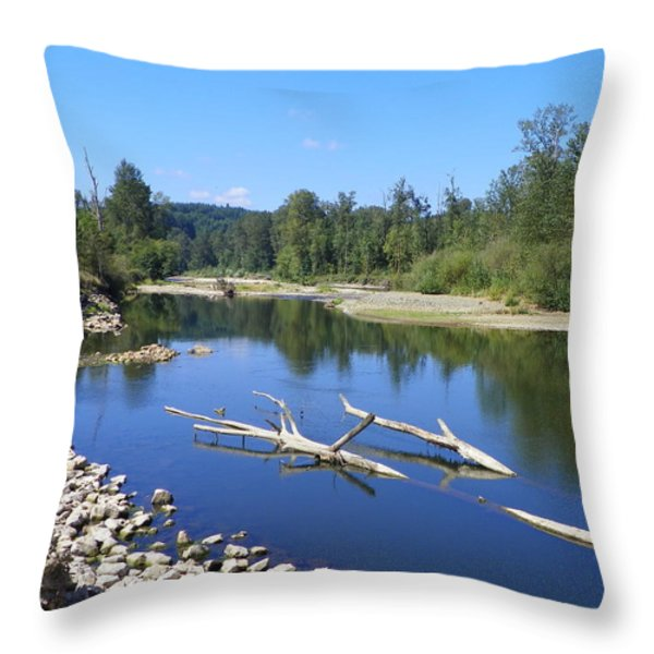 CHEHALIS RIVER WASHINGTON Throw Pillow by LAURIE KIDD