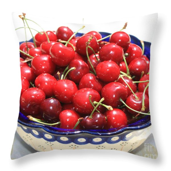 Cherries In Blue Bowl Throw Pillow by Carol Groenen