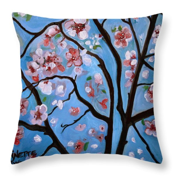 Cherry Blossoms In Bloom Throw Pillow by Elizabeth Robinette Tyndall