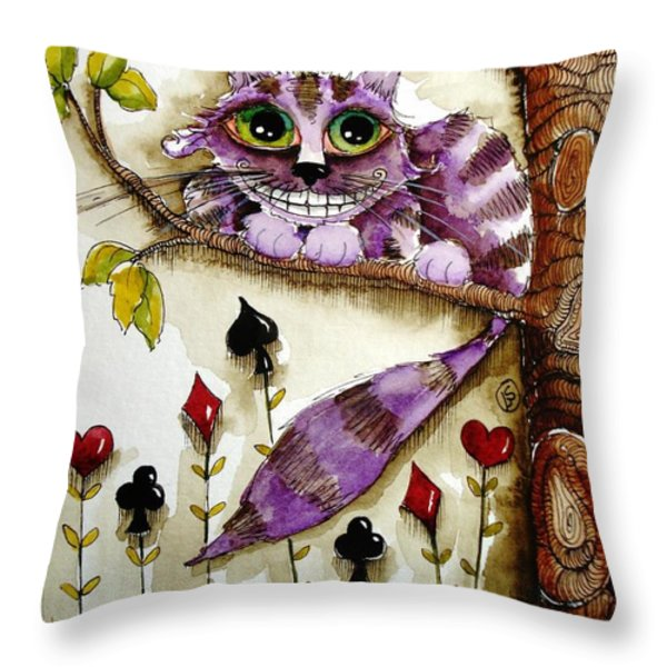 Cheshire Cat Throw Pillow by Lucia Stewart
