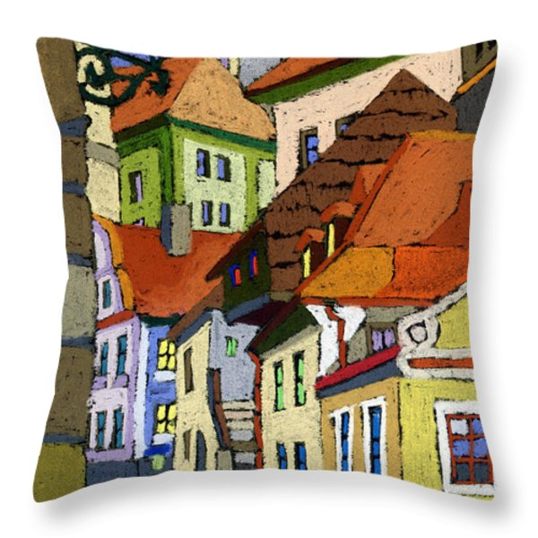 Chesky Krumlov Masna Street 1 Throw Pillow by Yuriy  Shevchuk