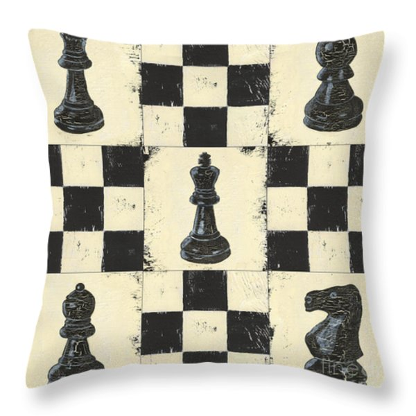 Chess Pieces Throw Pillow by Debbie DeWitt