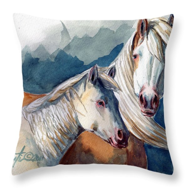 Cheyenne And Tripod Throw Pillow by Linda L Martin
