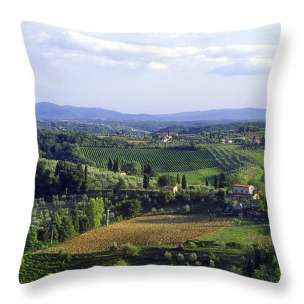 Chianti Region in Italy Throw Pillow by Gregory Ochocki and Photo Researchers