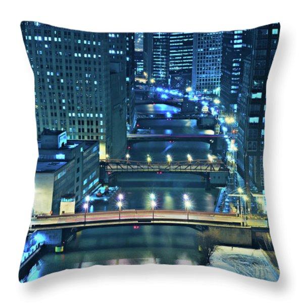 Chicago Bridges Throw Pillow by Steve Gadomski