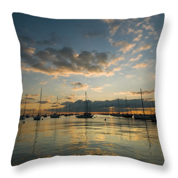 Chicago Harbor Sunrise Throw Pillow by Steve Gadomski