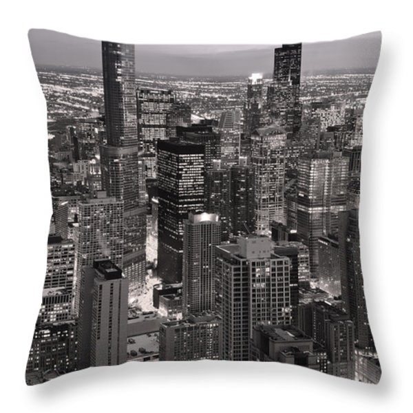 Chicago Loop Sundown B and W Throw Pillow by Steve Gadomski