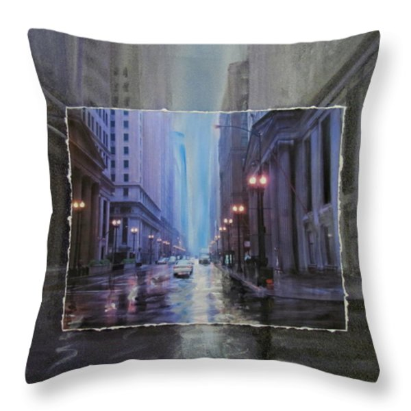 Chicago Rainy Street expanded Throw Pillow by Anita Burgermeister