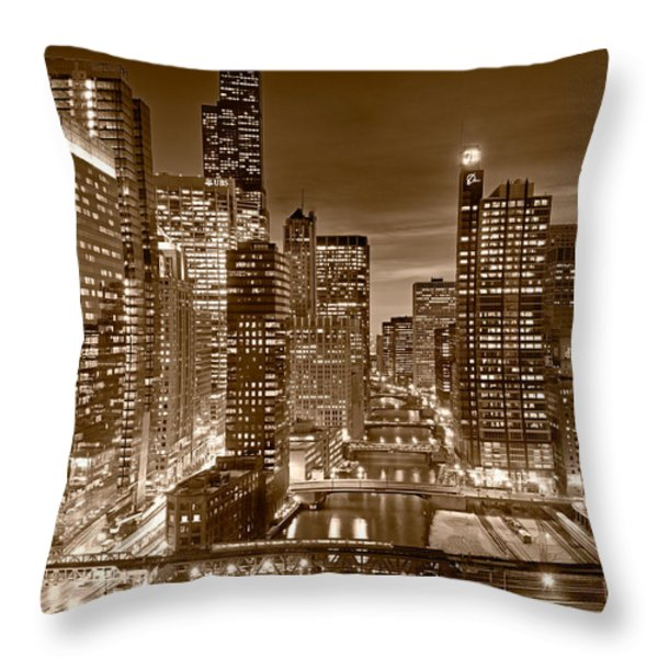 Chicago River City View B and W Throw Pillow by Steve gadomski