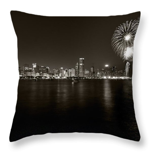 Chicago Skyline Fireworks BW Throw Pillow by Steve Gadomski