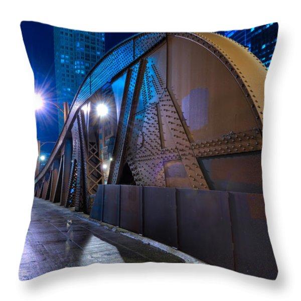 Chicago Steel Bridge Throw Pillow by Steve Gadomski