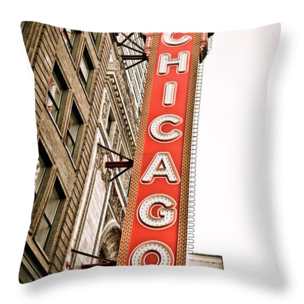 Chicago Theater Sign Marquee Throw Pillow by Paul Velgos
