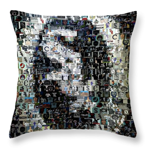 Chicago White Sox Ring Mosaic Throw Pillow by Paul Van Scott