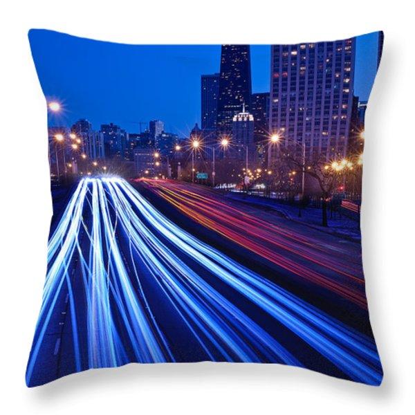 Chicagos Lake Shore Drive Throw Pillow by Steve Gadomski