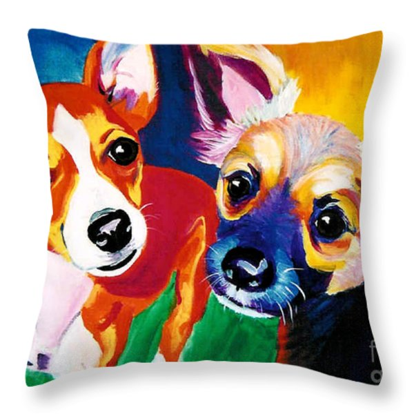 Chihuahua - Dos Perros Throw Pillow by Alicia VanNoy Call