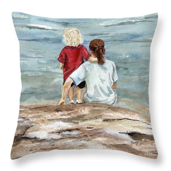 Children By The Sea Throw Pillow by Nancy Patterson