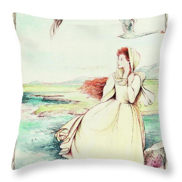 Children Of Llyr Throw Pillow by Morgan Fitzsimons