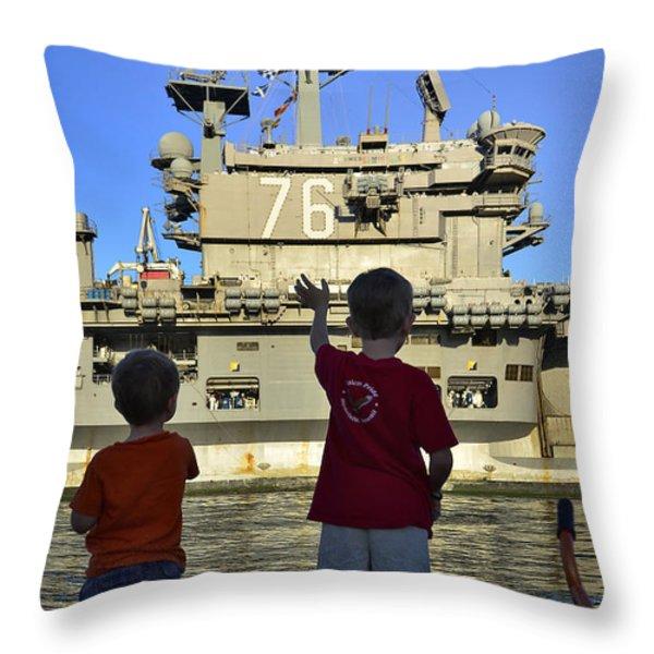 Children Wave As Uss Ronald Reagan Throw Pillow by Stocktrek Images
