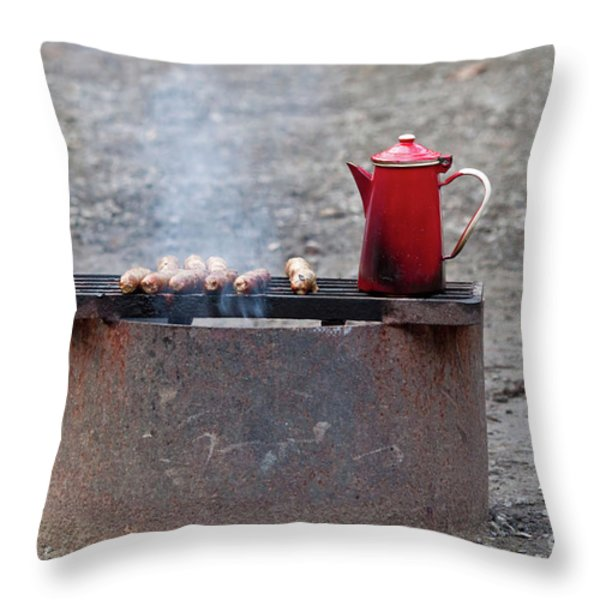 Chilly Morning Throw Pillow by Louise Heusinkveld