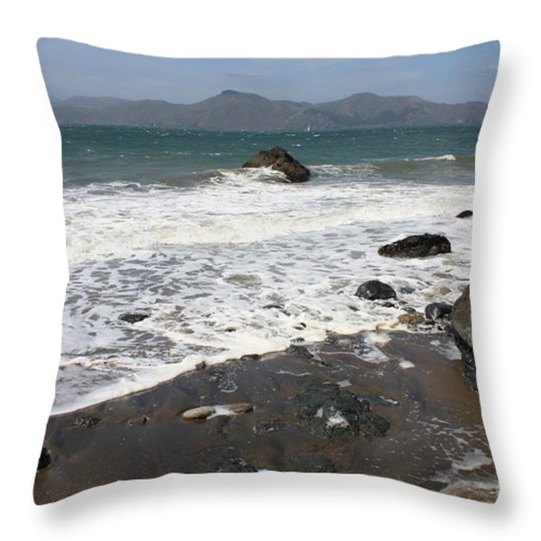 China Beach with Outgoing Wave Throw Pillow by Carol Groenen