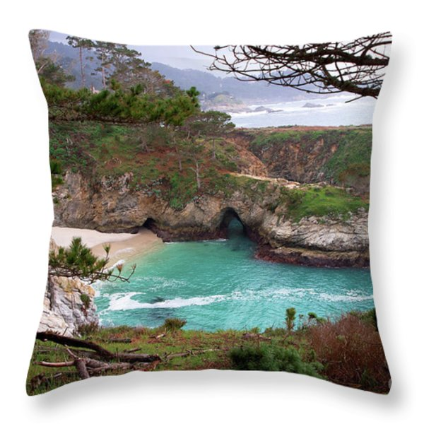 China Cove At Point Lobos Throw Pillow by Charlene Mitchell