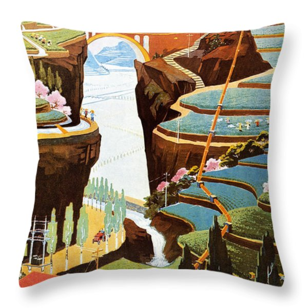 China: Poster, 1975 Throw Pillow by Granger