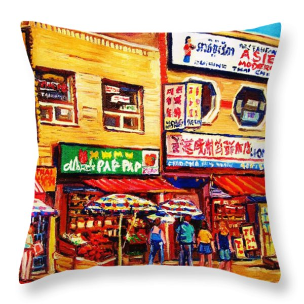 Chinatown Markets Throw Pillow by Carole Spandau