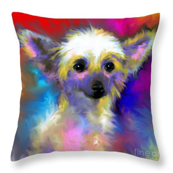 Chinese Crested Dog Puppy Painting Print Throw Pillow by Svetlana Novikova