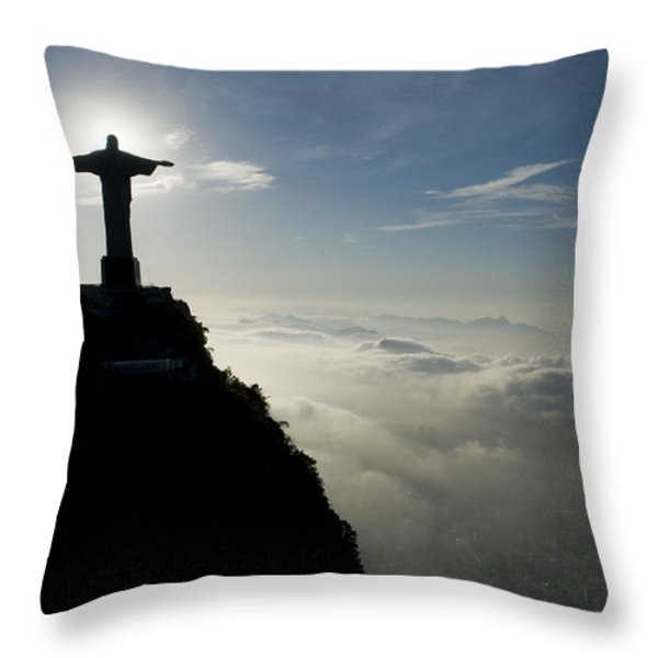 Christ The Redeemer Statue At Sunrise Throw Pillow by Joel Sartore
