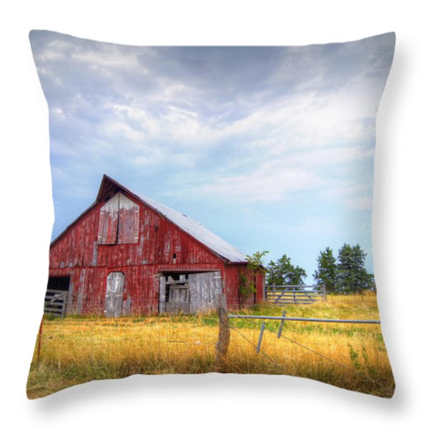 Christian School Road Barn Throw Pillow by Cricket Hackmann
