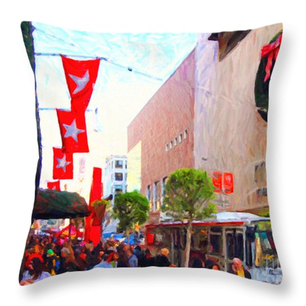 Christmas at Macys in San Francisco . Photoart Throw Pillow by Wingsdomain Art and Photography