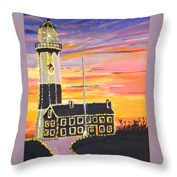 Christmas At The Lighthouse Throw Pillow by Donna Blossom