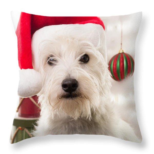 Christmas Elf Dog Throw Pillow by Edward Fielding
