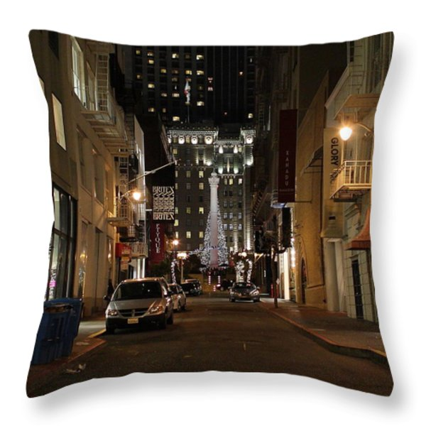 Christmas Eve 2009 on Maiden Lane Throw Pillow by Wingsdomain Art and Photography