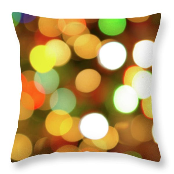 Christmas Lights Throw Pillow by Carlos Caetano