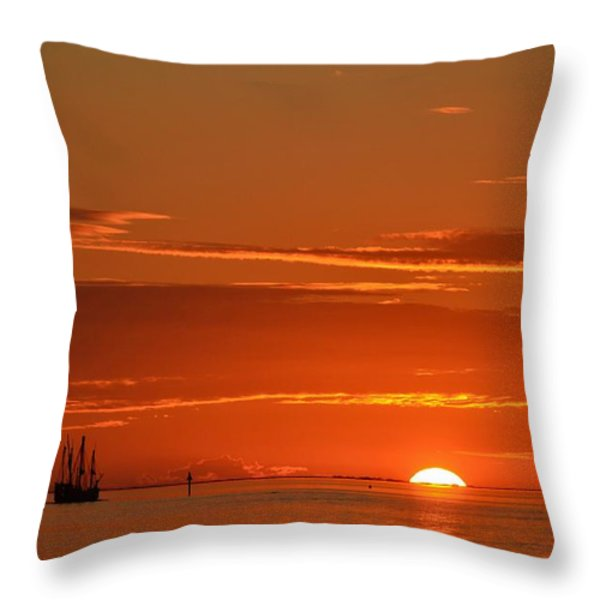Christopher Columbus Replica Wooden Sailing Ship Nina Sails Off Into The Sunset Throw Pillow by Jeff at JSJ Photography