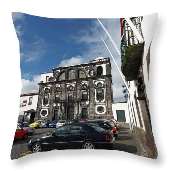 Church In Ponta Delgada Throw Pillow by Gaspar Avila