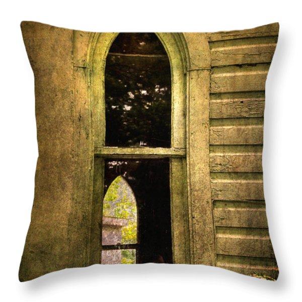 Church Window Church Bell Throw Pillow by Lois Bryan