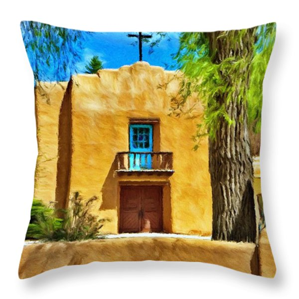 Church with Blue Door Throw Pillow by Jeff Kolker