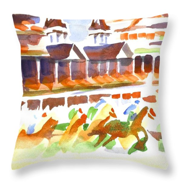 Churchill Downs Watercolor Throw Pillow by Kip DeVore