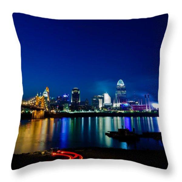 Cincinnati Boom Throw Pillow by Keith Allen