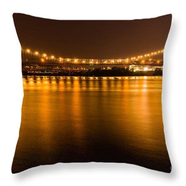 Cincinnati Roebling Bridge At Night Throw Pillow by Paul Velgos