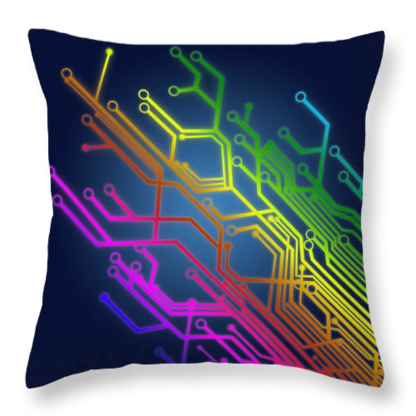 circuit board Throw Pillow by Setsiri Silapasuwanchai