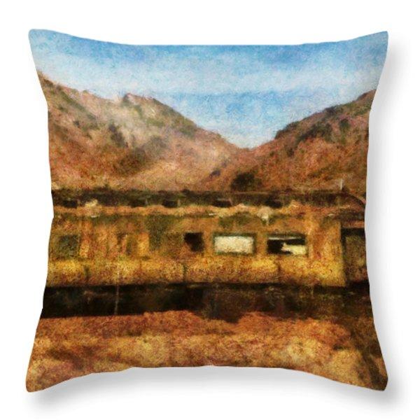 City - Arizona - Desert Train Throw Pillow by Mike Savad