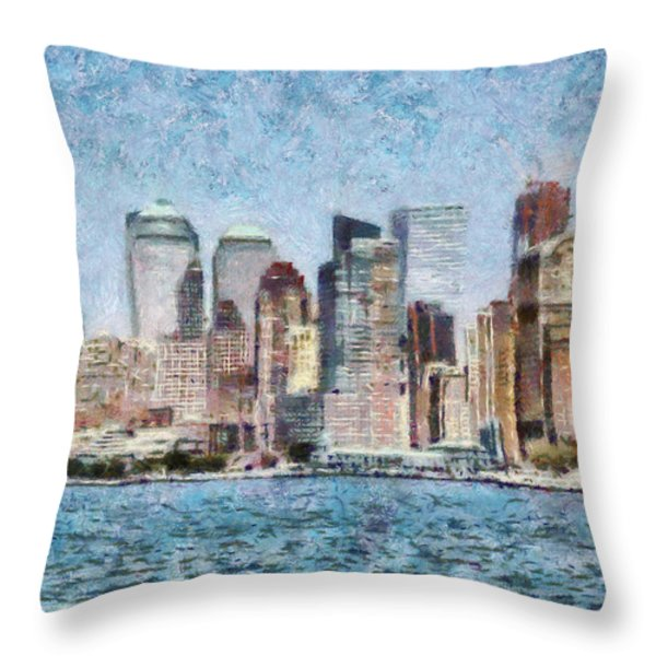 City - Ny - Manhattan Throw Pillow by Mike Savad